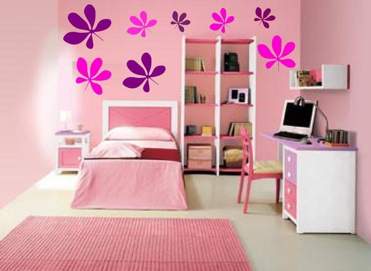 Vinilos decorativos florales para paredes de habitaciones for Cuartos para 3 ninas