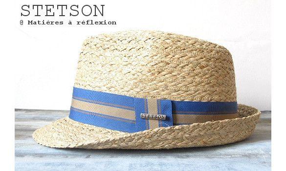 Stetson chapeau homme Mandalo raffia #stetson #chapeau #raffia #raphia #hat #paille #fashion #bleu #blue #accessoire #accessories #ss15 #soldes #onsale #sales #promo
