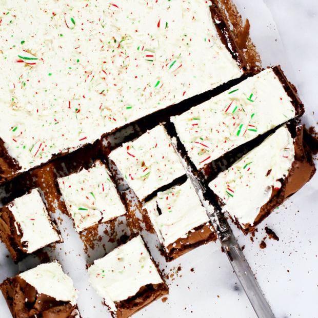 Brownies de Noël au chocolat et à la menthe poivrée