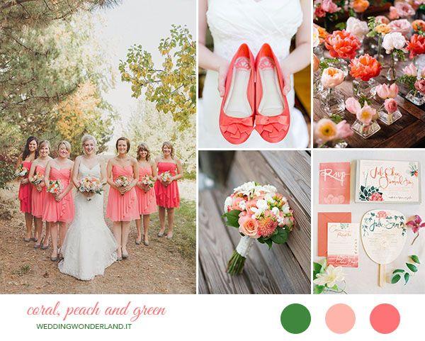 Inspiration board: matrimonio corallo, pesca e verde