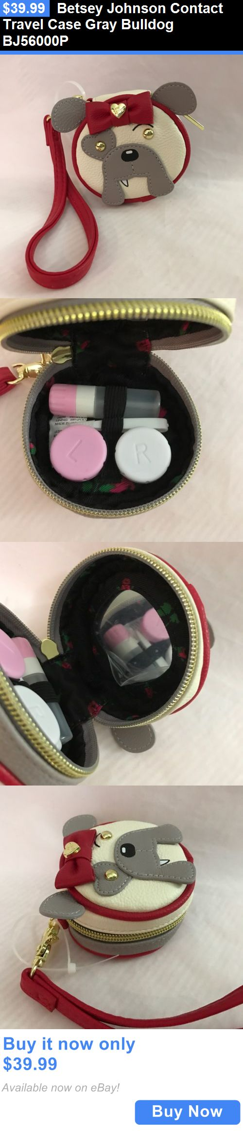 Contact Lens Cases: Betsey Johnson Contact Travel Case Gray Bulldog Bj56000p BUY IT NOW ONLY: $39.99