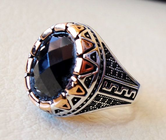 Silver Turkish Platinum: Men Ring Black Onyx Agate Aqeeq Faceted Stone Sterling