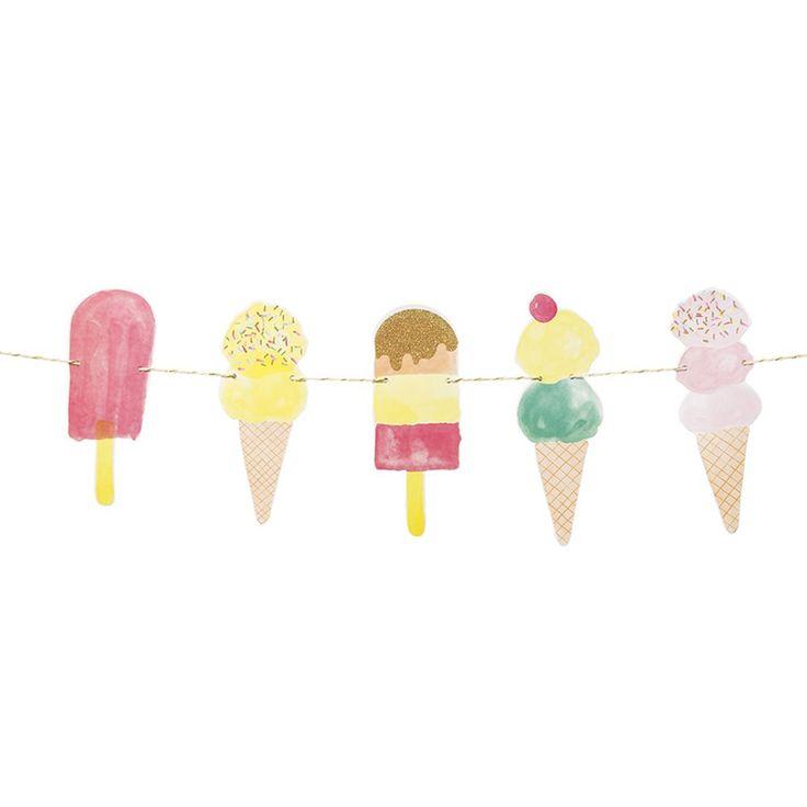 Dies süße Girlande ist eine tolle Deko für das Candybuffet einer Eisparty. Ice - Eis Girlande bei www.party-princess.de