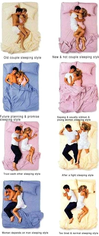 COUPLE SLEEPING POSITIONS Soooo funny after being married for a year! The ones that describe Josh and I are hilarious now!