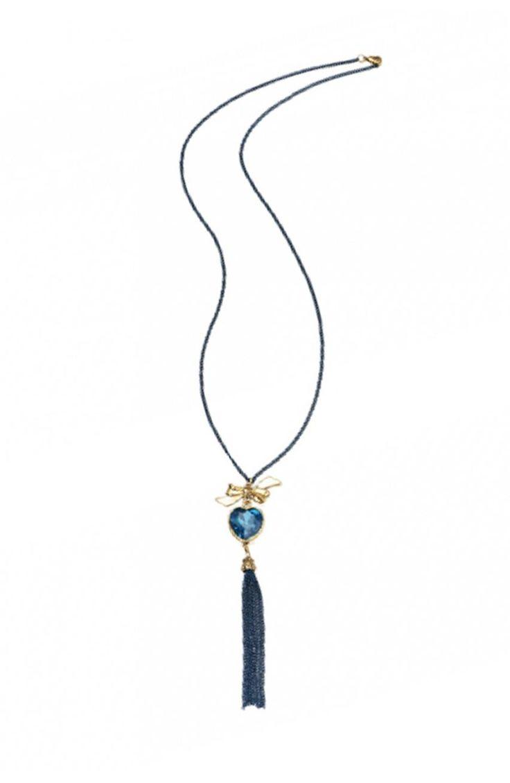 Niebieski naszyjnik z zawieszką - Modne Duże Rozmiary