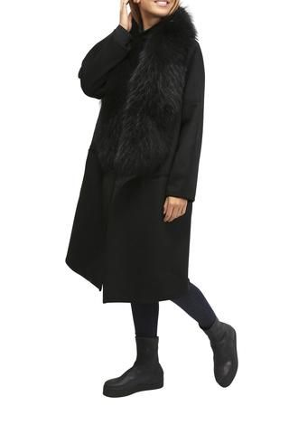 Black Wool Waterfall Coat With Raccoon Trim