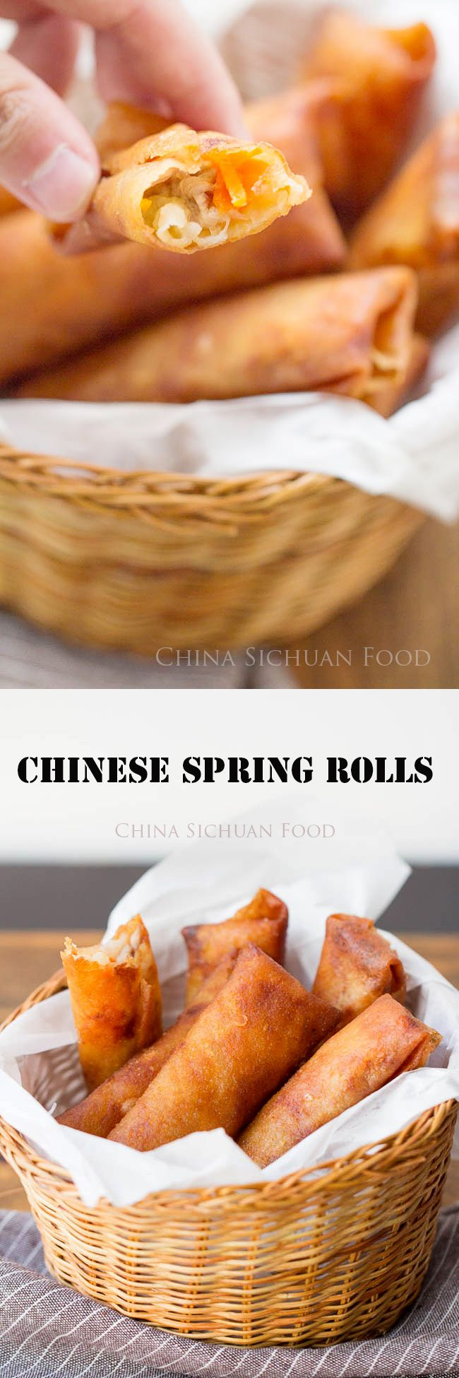Chinese spring roll, with napa cabbage, carrot and pork.| ChinaSichuanFood.com