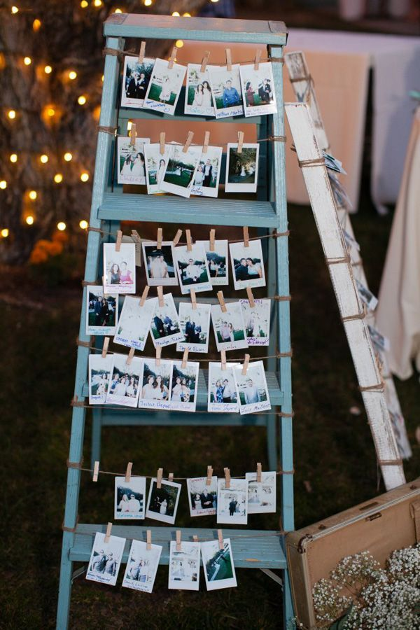vintage wedding ideas photo display with ladders