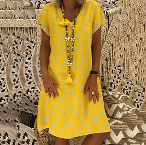 Casual Loose Pineapple Printed Dresses 2