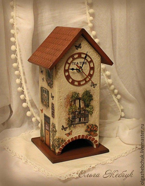 """Купить Чайный домик - часы """" Где-то в Италии """" - коричневый, чайный домик"""
