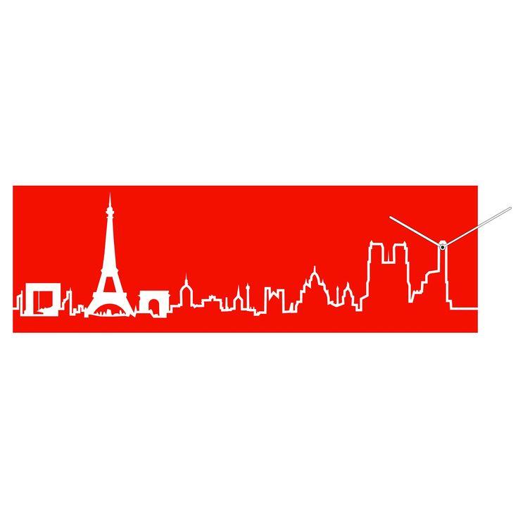 Orologio da parete Skyline in legno 79xh25 cm Parigi Rosso | Progetti | Stilcasa.Net: orologi da parete