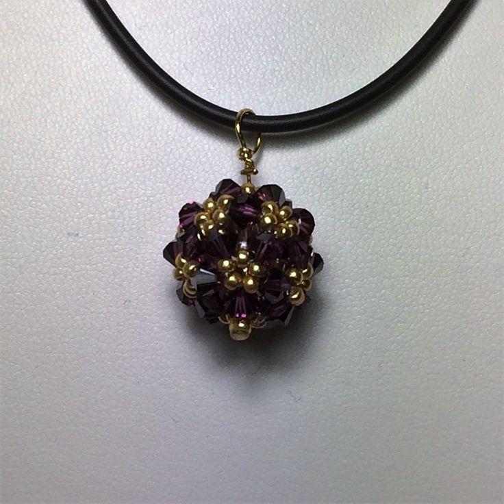 Zelkova Beads Hana-ami Ball Pendant Czech Amethyst $30