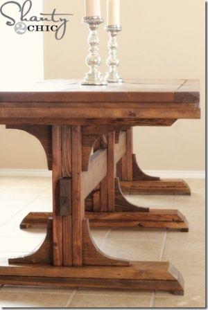 DIY Dining Table ~ Triple Pedestal Farmhouse by Subjects Chosen at Random