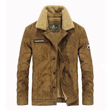 AFSJEEP Thick Warm Velvet Plus Men Fashion Casual Jacket Parkas