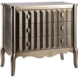 """This eye-catching wood cabinet creates a striking focal point in your living room or dining room, pairing a hand-painted silver finish with 3 textured drawers.      Product: Cabinet   Construction Material: Wood   Color: Silver  Features: Three drawers   Textured drawer fronts   Hand-painted   Dimensions: 34"""" H x 36"""" W x 17"""" D"""