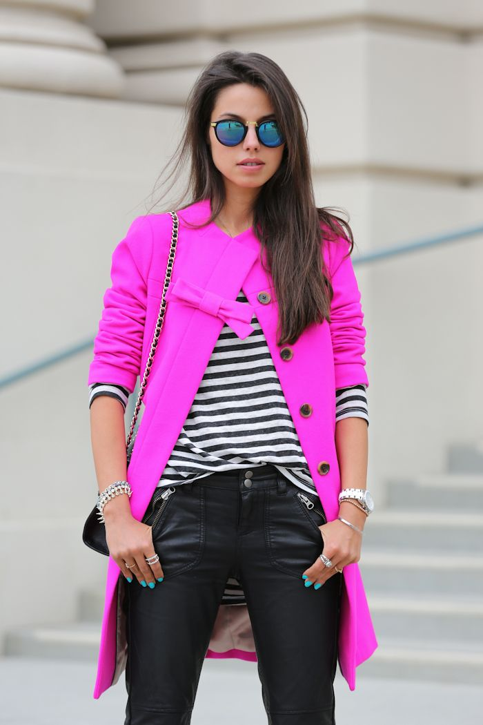Hot pink. Coat. Stripes. Leather pants.