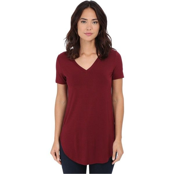 Culture Phit Preslie Cap Sleeve Modal V-Neck Top (Wine) featuring polyvore, women's fashion, clothing, tops, burgundy, burgundy top, v neck tops, short sleeve tops, modal top and wine tops