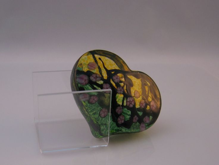 Amber/Green Cherry Blossom Heart Paperweight