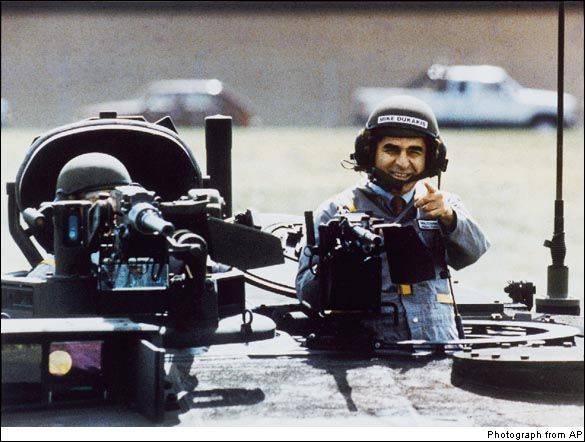 Dem Candidate for President, Michael Dukakis in 1988, photo op @ General Dynamics plant in Michigan to counteract his lack of military experience. Many believe this campaign photo actually made him look foolish & it may have cost him the  election