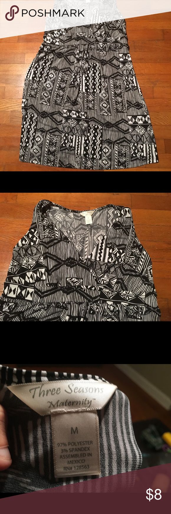 Three Seasons Maternity Dress Size M Beautiful black and white v neck maternity dress with soft fabric. Excellent condition. Three Seasons Maternity Dresses