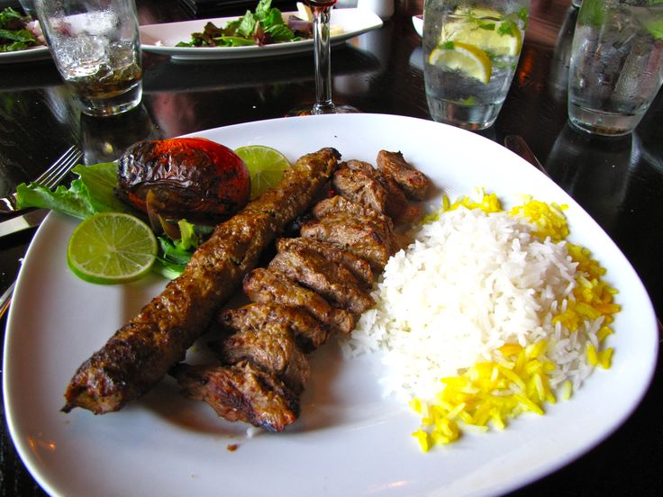 Persian Kabobs. Koobideh and Chinjeh Kabobs. Pomegranate Restaurant, Greenville, SC.