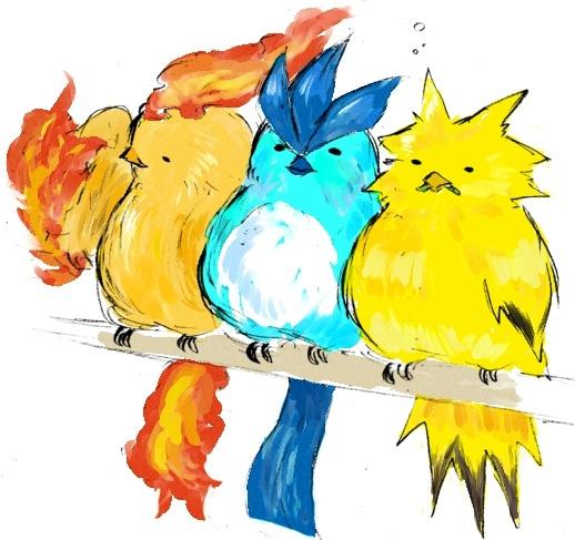 if legendary birds were fat parakeets, #pokemon original 151