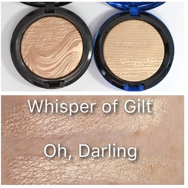 FML YAASSSSSSSSSS  Not that it really matter, cause I was about to get 'Oh Darling' anyway!!!! BUT LK...God I Love #MAC IN EXTRA DIMENSION #SKINFINISH !!!!! @maccosmetics Please make it permanent!!!!!  #SWATCHES  Comparison side by side 'Oh, Darling' Vs WOG - According to @beautyjunkies (pic) they have the same brightness but different tones. WOG has more of s rosy-peach tone.  So not exactly the same BUT Who cares that is good enough for us  #MACMagicOfTheNight