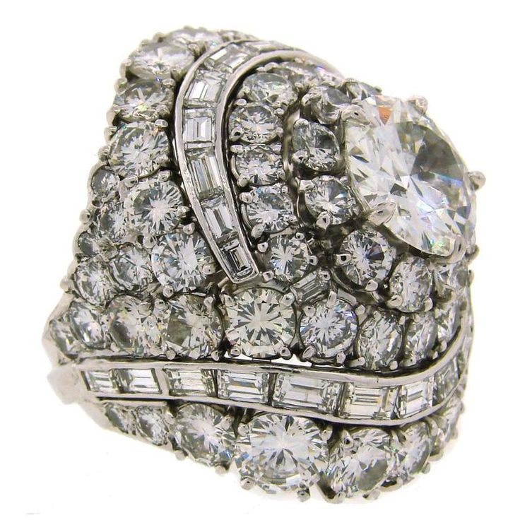 David Webb Diamond Platinum Cocktail Ring | From a unique collection of vintage cocktail rings at https://www.1stdibs.com/jewelry/rings/cocktail-rings/