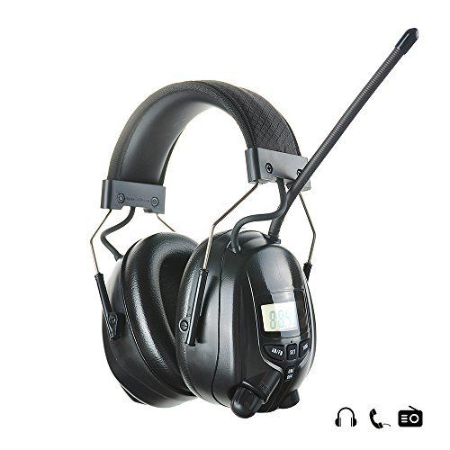 Protear Radio Safety Earmuffs Audio Tough Sound Electronic Noise Reduction Ear Defenders Hearing Protector for Shooting Mowing Ear Protection Headphones- AM/FM Radio- Phone/MP3 Stereo Jack-NRR 25dB