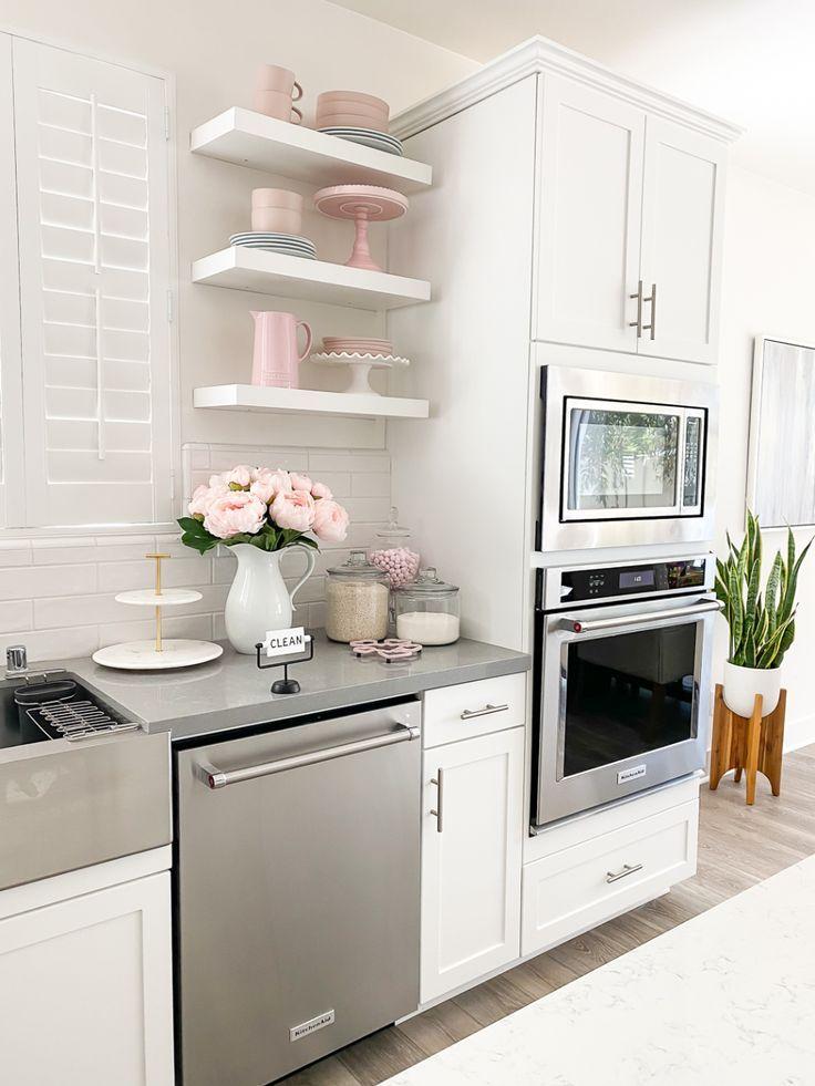 white floating shelves kitchen decor stylish petite in on floating shelves kitchen id=74436