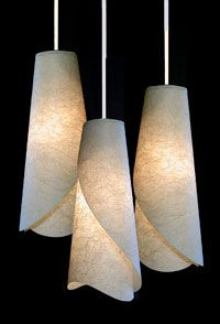 Custom Handmade Paper Lamps & Wall Sconces from AmbientArt.com                                                                                                                                                                                 More