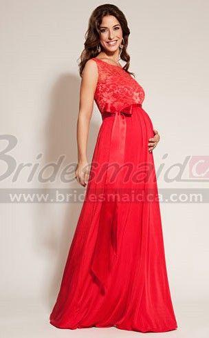 Long Red Lace and Chiffon Empire Waist  Maternity Bridesmaid Dress MDCA-011
