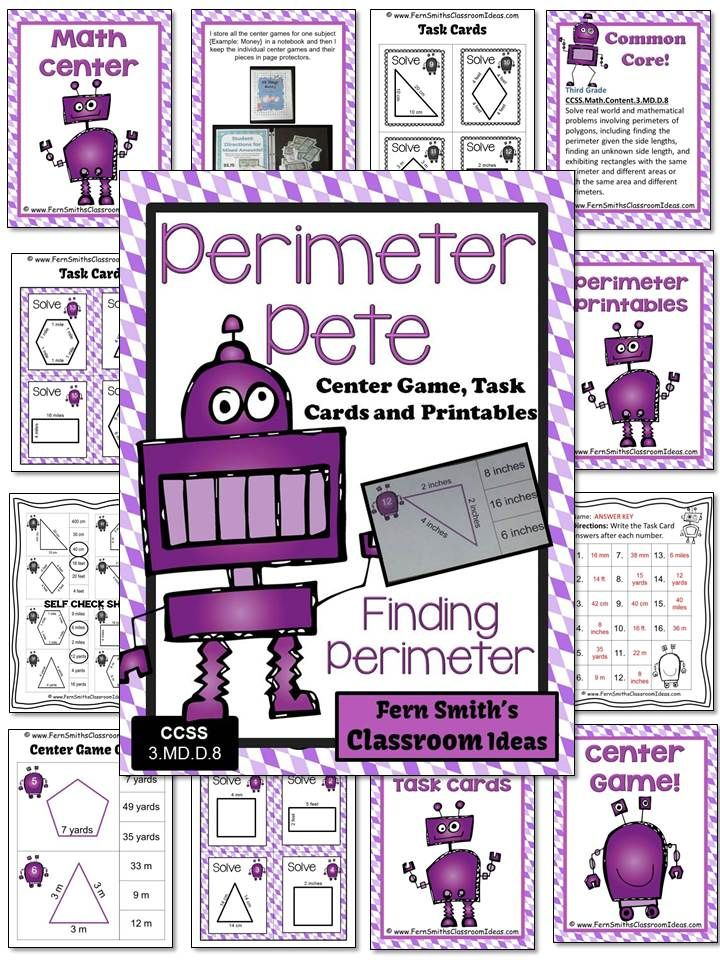 Perimeter Pete Mega Math Pack - Finding Perimeter Printables, Task Cards and Center Game For 3.MD.D.8 #TPT $Paid