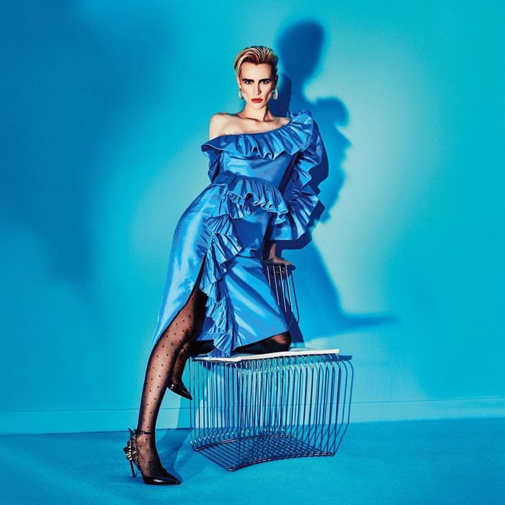 Back to the 80's in @marieclairemag Polka dot tights and taffetas dress. 📷 @arnaudpyvka  #Regram via @falke