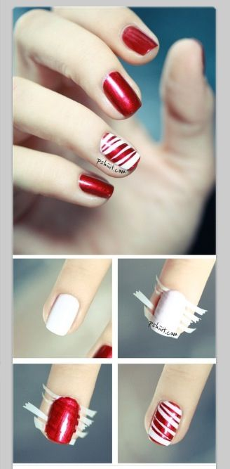 This is a nice classy Idea on how to wear a shiny red polish, tone it down a little with a single striped nail, wear it to get ready to celebrate Canada Day or Christmas, or just wear it because.
