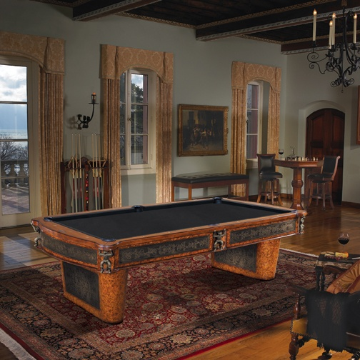 An Ornate & Exotic Billiard Table Featuring Materials & Designs From Around the Globe