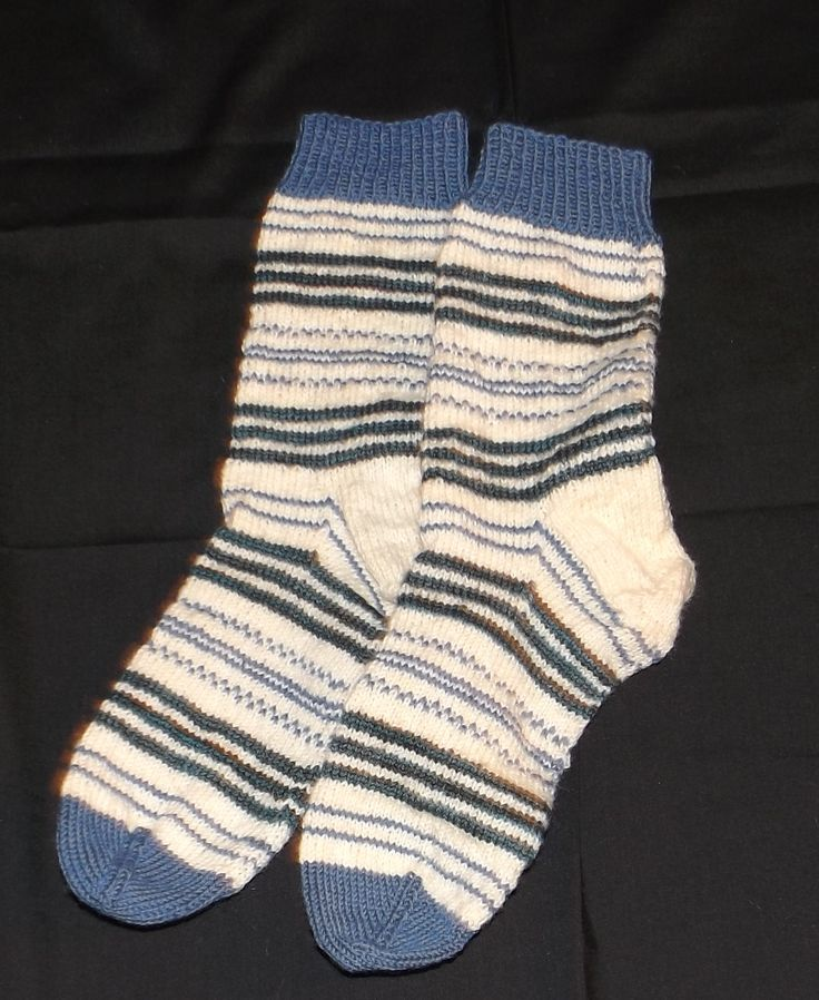 """Another pair of """"leftover"""" socks I made using three sock yarns and just did a random design as I went"""