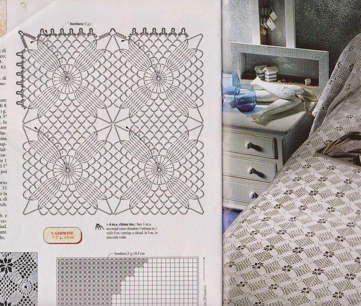 Hobby lavori femminili - ricamo - uncinetto - maglia: schema copriletto uncinetto