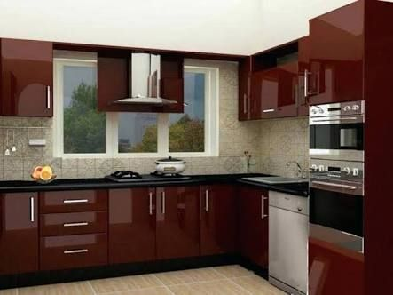 Image Result For Kitchen Cabinet Designs In Maroon Sunmica Kitchen