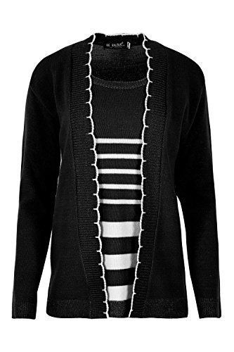 08e1d4bc12 Fashion Star Womens Open Front Long Sleeves Knitted Twin Cardigan Jumper  Sweater Top