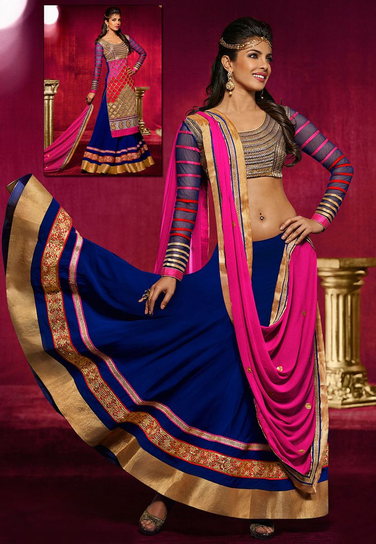 Perk up your looks with the most Latest #Bollywood #Style #Lehenga. Shop Now @ http://www.utsavfashion.com/lehenga/faux-georgette-lehenga-choli-with-dupatta/ljy1-itemcode