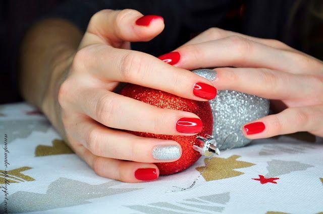 Świąteczny manicure, Semilac Intense Red, diamond ring,