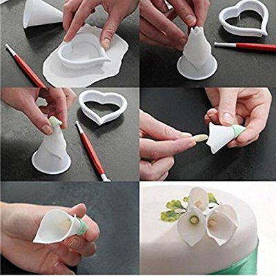Miki 1316 Calla Lily Former Set 7-pieces Flower Modelling Cutter Gum Paste Flowers Cake Decorating Kit Sugarcraft Fondant Cake Clay Tool for Wedding Cake Cupcake Decor