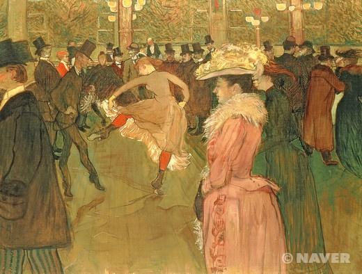 """앙리 드 툴루즈 로트렉, """"물랭 루즈에서의 춤"""", 1890, 캔버스에 유채, 필라델피아 미술관.  무대에서 아름답고 열정적인 춤을 추기 위해서 얼마나 많은 헛발질을 반복해야 하는가."""