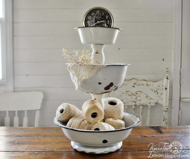 Repurposed Enamelware Tiered Stand by  http://knickoftimeinteriors.blogspot.com/