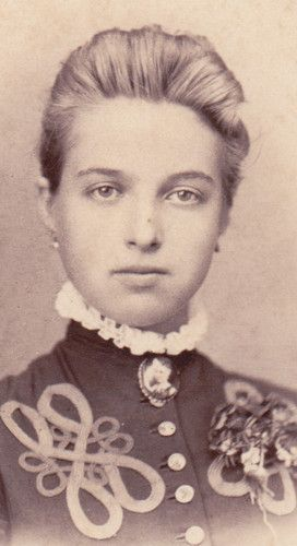+~+~ Antique Photograph ~+~+  Absolutely stunning young woman wearing a very detailed dress and a lovely cameo pin.  It looks like the cameo is of a little boy or girl.