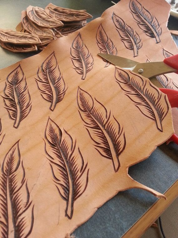 Freehand Burned Leather Feather Keychain by BurningLeather                                                                                                                                                                                 More