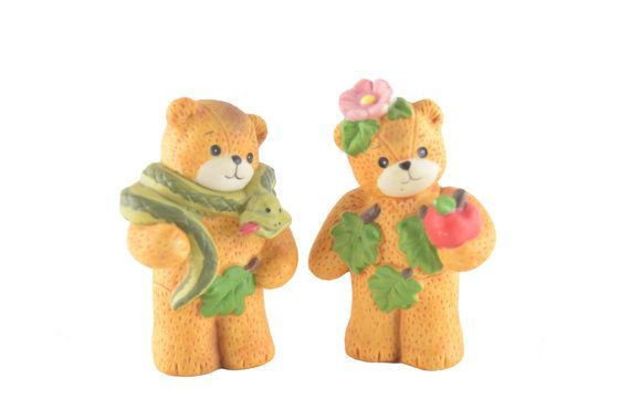 Vintage Enesco Lucy and Me Biblical Adam and Eve Story Bears