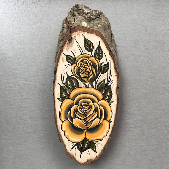 Wood slice with an original drawing of yellow roses 'tattoo style'