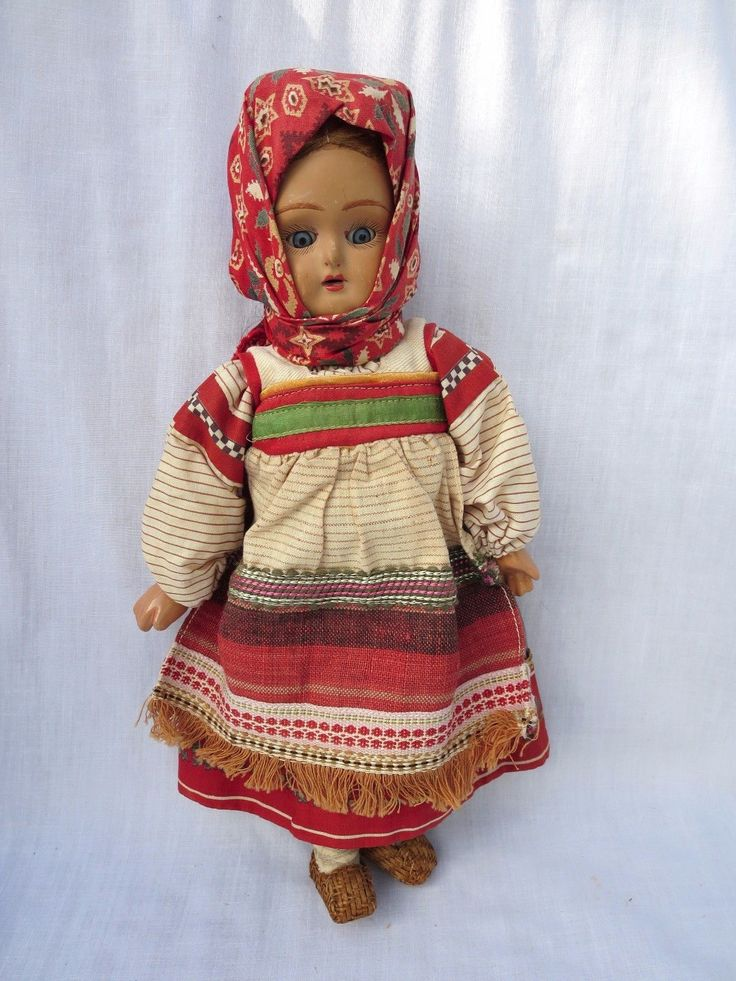 "Antique 11"" Bisque Doll Jointed Papier Mache Body Dressed As Russian Babushka 